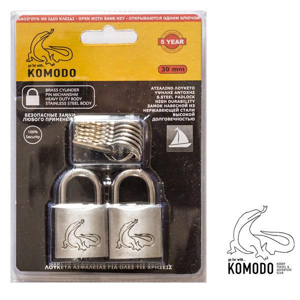 Stainless-steel padlock set 2x30MM with same key - Komodo