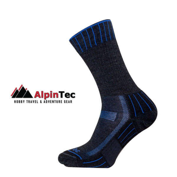 Hiking Lite Socks - AlpinTec - Charcoal Grey - Blue